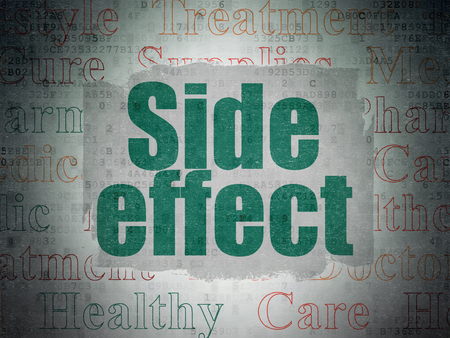 side effect: Health concept: Painted green text Side Effect on Digital Paper background with   Tag Cloud Stock Photo