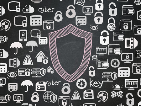 contoured: Protection concept: Chalk Pink Contoured Shield icon on School Board background with  Hand Drawn Security Icons