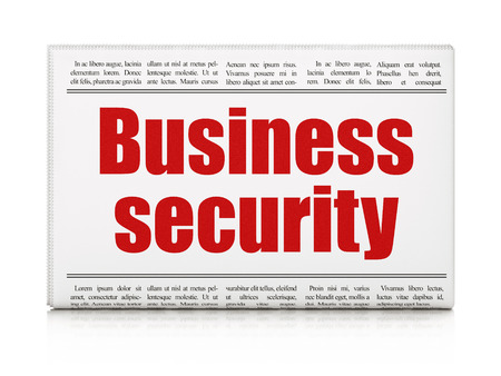 business security: Privacy concept: newspaper headline Business Security on White background, 3d render Stock Photo