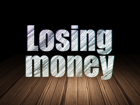 losing money: Currency concept: Glowing text Losing Money in grunge dark room with Wooden Floor, black background