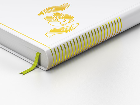closed book: Insurance concept: closed book with Gold Family And Palm icon on floor, white background, 3d render