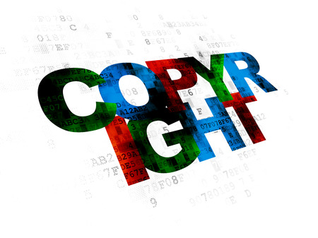 data protection act: Law concept: Pixelated multicolor text Copyright on Digital background