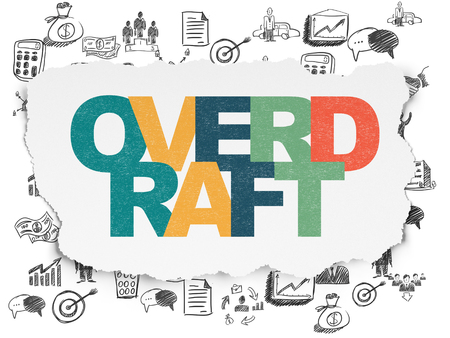 overdraft: Business concept: Painted multicolor text Overdraft on Torn Paper background with  Hand Drawn Business Icons