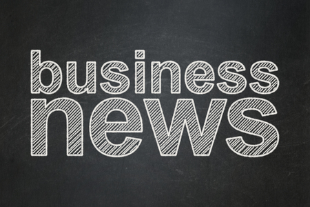 urgent announcement: News concept: text Business News on Black chalkboard background Stock Photo