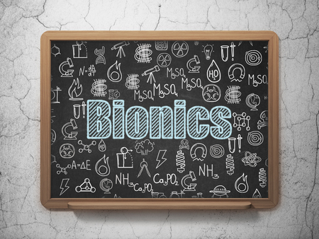 bionics: Science concept: Chalk Blue text Bionics on School Board background with  Hand Drawn Science Icons Stock Photo