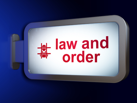 bill of rights: Law concept: Law And Order and Criminal on advertising billboard background, 3d render