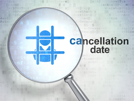 cancellation: Law concept: magnifying optical glass with Criminal icon and Cancellation Date word on digital background
