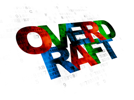 overdraft: Business concept: Pixelated multicolor text Overdraft on Digital background