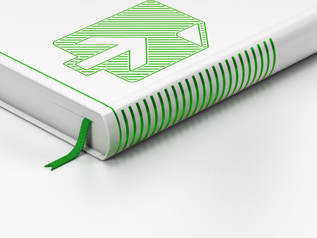 closed book: Web design concept: closed book with Green Upload icon on floor, white background, 3d render