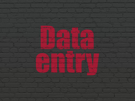 data entry: Data concept: Painted red text Data Entry on Black Brick wall background