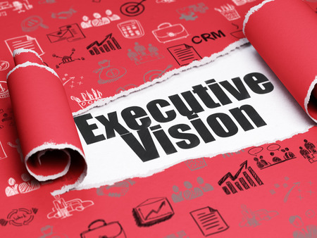 Business concept: black text Executive Vision under the curled piece of Red torn paper with  Hand Drawn Business Icons Stock Photo