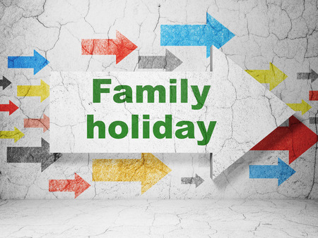 family holiday: Vacation concept:  arrow with Family Holiday on grunge textured concrete wall background