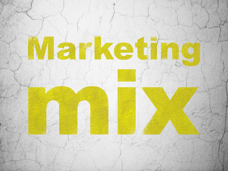 marketing mix: Advertising concept: Yellow Marketing Mix on textured concrete wall background Stock Photo
