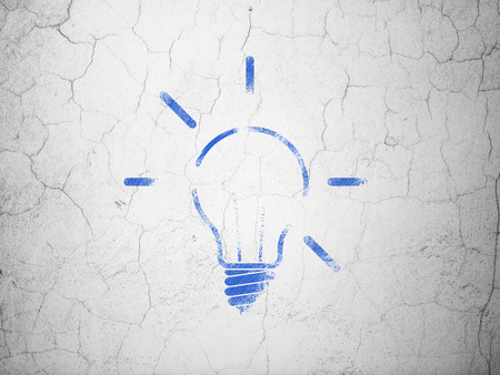 blue bulb: Business concept: Blue Light Bulb on textured concrete wall background Stock Photo