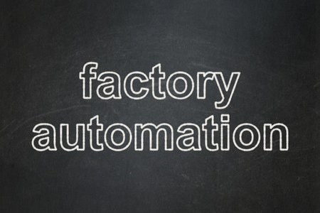 factory automation: Manufacuring concept: text Factory Automation on Black chalkboard background