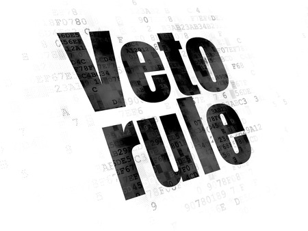 veto: Political concept: Pixelated black text Veto Rule on Digital background Stock Photo