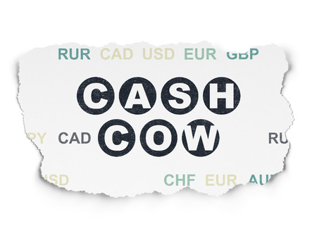 cash cow: Business concept: Painted black text Cash Cow on Torn Paper background with  Currency