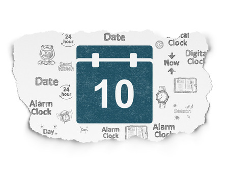 calendar icon: Timeline concept: Painted blue Calendar icon on Torn Paper background with  Hand Drawing Time Icons