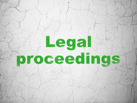 proceedings: Law concept: Green Legal Proceedings on textured concrete wall background