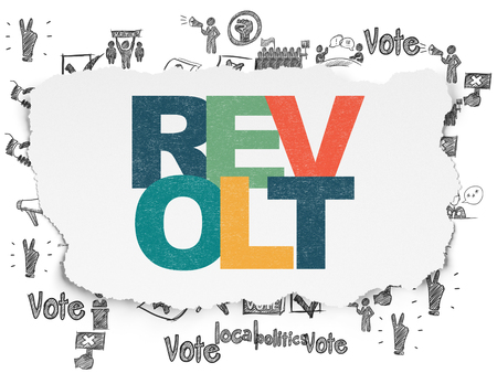 revolt: Politics concept: Painted multicolor text Revolt on Torn Paper background with  Hand Drawn Politics Icons