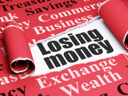 losing money: Currency concept: black text Losing Money under the curled piece of Red torn paper with  Tag Cloud