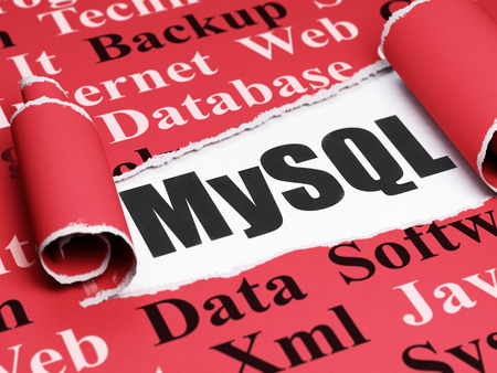 mysql: Programming concept: black text MySQL under the curled piece of Red torn paper with  Tag Cloud Stock Photo