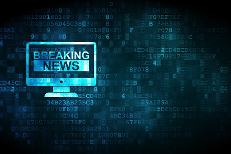 copyspace: News concept: pixelated Breaking News On Screen icon on digital background, empty copyspace for card, text, advertising Stock Photo