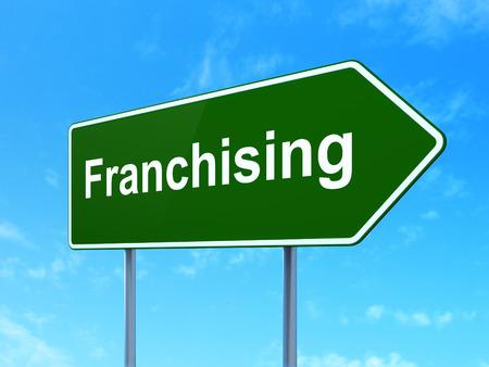 franchising: Finance concept: Franchising on green road highway sign, clear blue sky background, 3d render