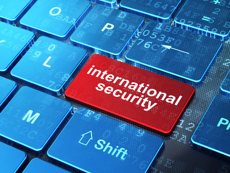 international security: Security concept: computer keyboard with word International Security on enter button background, 3d render Stock Photo