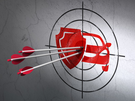 car care center: Success Insurance concept: arrows hitting the center of Red Car And Shield target on wall background