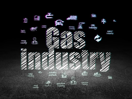 dirty room: Manufacuring concept: Glowing text Gas Industry,  Hand Drawn Industry Icons in grunge dark room with Dirty Floor, black background Stock Photo