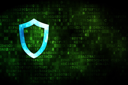 contoured: Privacy concept: pixelated Contoured Shield icon on digital background, empty copyspace for card, text, advertising Stock Photo