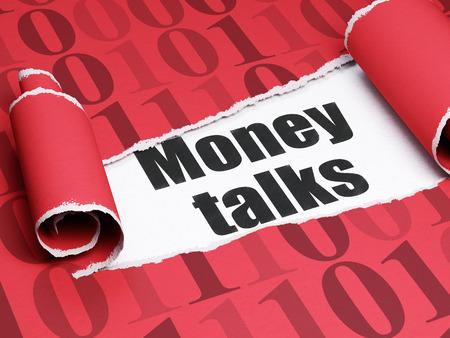 conversaciones: Concepto de negocio: texto negro negociaciones del dinero debajo de la pieza de papel rasgado rizado rojo con código binario Foto de archivo