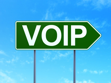 voip: Web development concept: VOIP on green road highway sign, clear blue sky background, 3d render