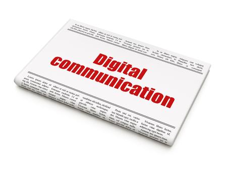 newspaper headline: Information concept: newspaper headline Digital Communication on White background, 3d render