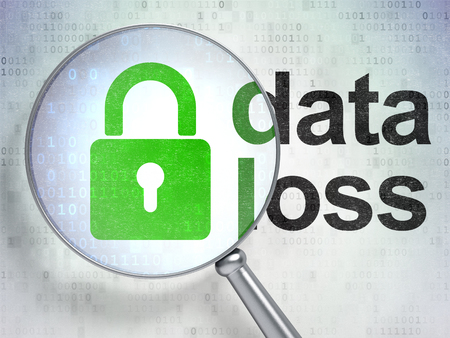 data loss: Data concept: magnifying optical glass with Closed Padlock icon and Data Loss word on digital background Stock Photo