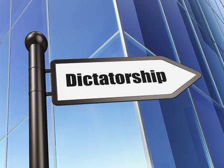 dictatorship: Political concept: sign Dictatorship on Building background, 3d render
