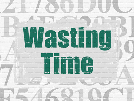 wasting: Timeline concept: Painted green text Wasting Time on White Brick wall background with  Hexadecimal Code