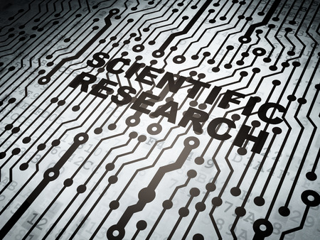 science scientific: Science concept: circuit board with  word Scientific Research, 3d render