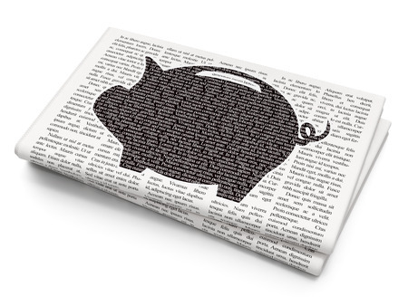 black money: Currency concept: Pixelated black Money Box icon on Newspaper background Stock Photo