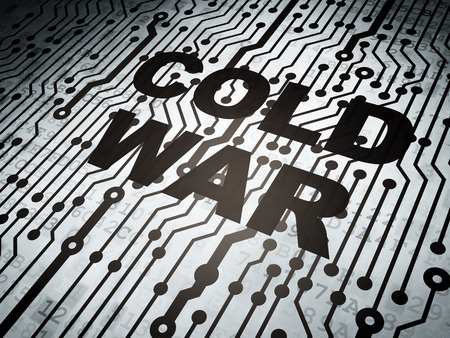 electronic voting: Political concept: circuit board with  word Cold War, 3d render Stock Photo