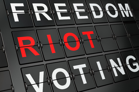 Political concept: Riot on airport board background, 3d render Stock Photo