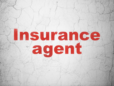 dark ages: Insurance concept: Red Insurance Agent on textured concrete wall background
