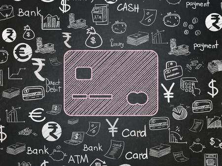 Währungskonzept: Kreide Rosa Kreditkarte Symbol auf School Board Hintergrund mit Hand gezeichnet Finanzen Icons