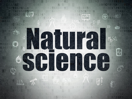 natural science: Science concept: Painted black text Natural Science on Digital Paper background with  Hand Drawn Science Icons