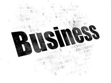 pixelated: Business concept: Pixelated black text Business on Digital background Stock Photo
