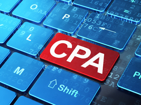 cpa: Business concept: computer keyboard with word CPA on enter button background, 3d render