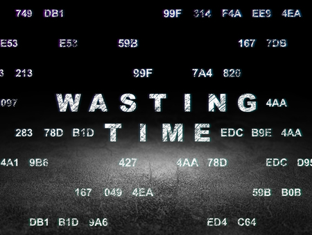 wasting: Time concept: Glowing text Wasting Time in grunge dark room with Dirty Floor, black background with Hexadecimal Code
