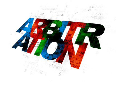 arbitration: Law concept: Pixelated multicolor text Arbitration on Digital background