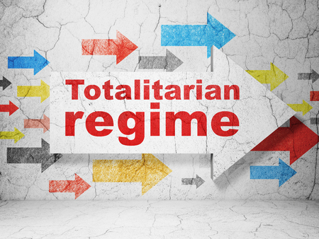 regime: Political concept:  arrow with Totalitarian Regime on grunge textured concrete wall background